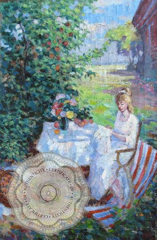 """Картина """"В градината"""" автор, Константин Горбатов - BG {Сертификат за автентичност и протокол за реставрация}"""