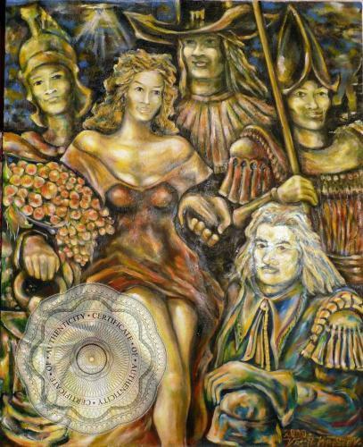"""Картина """"Нощна стража"""" автор, Васил Кръстев - BG {Сертификат за автентичност}"""