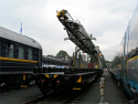 PRO 2013* year Railway Track-Laying Crane UK25/9-18/REMv2.0 + Motor platform wagon MPD (Modernized PRO version of REMTECH, modernized with REM systems, additional application and customer requirements)  Broad Gauge Track: 1435 mm